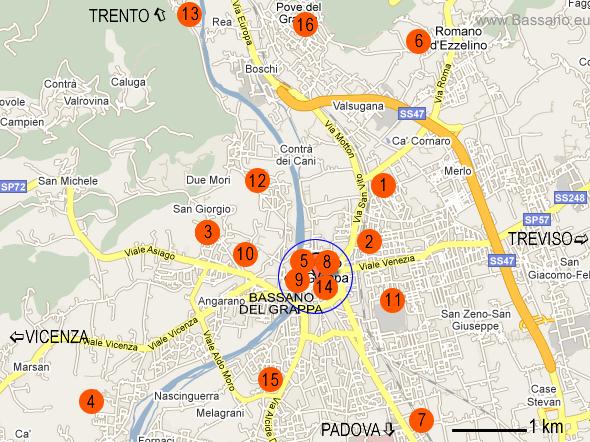 Mappa Ristoranti Bassano