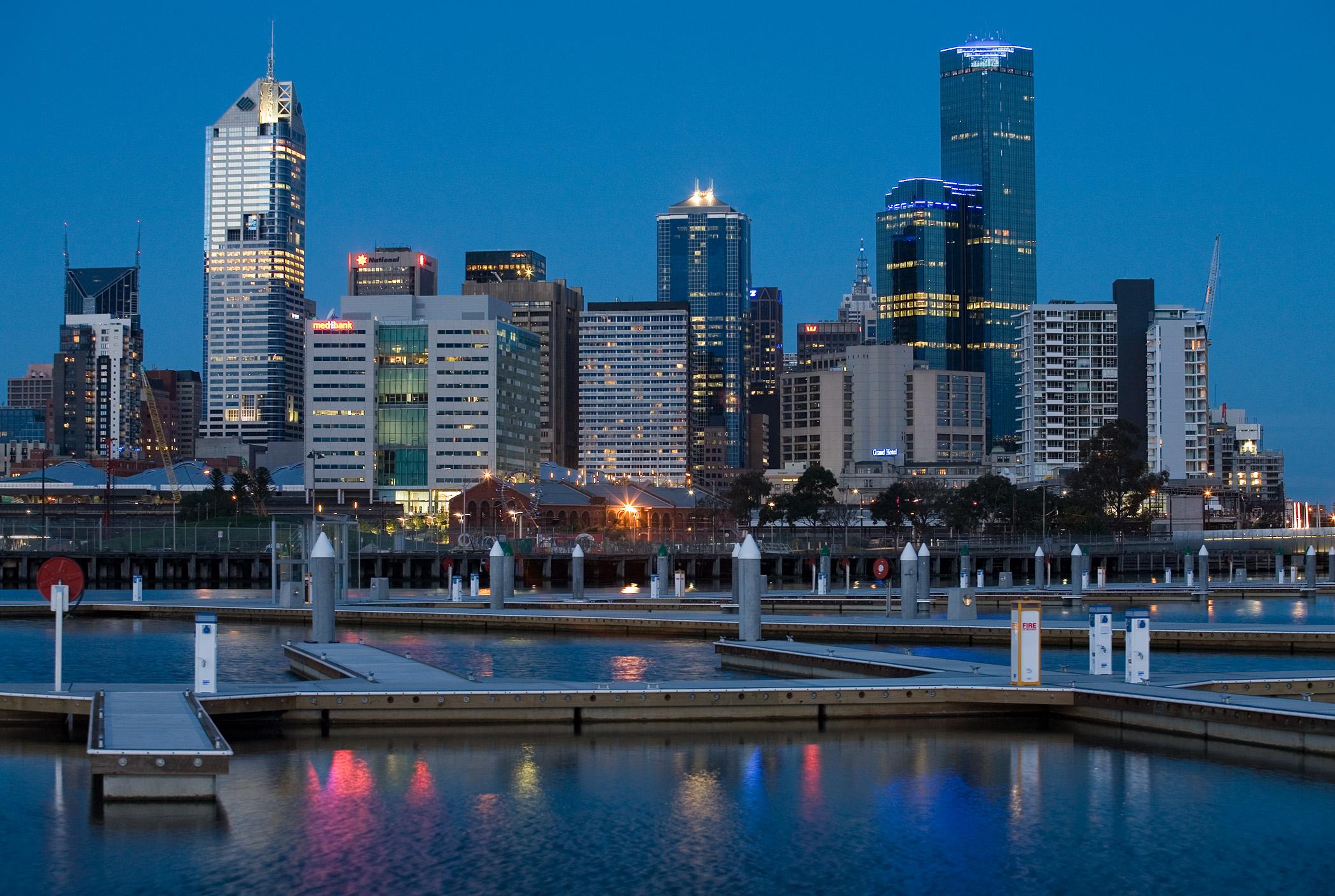 Melbourne docklands twilight