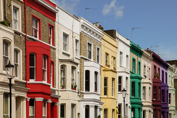 Notting hill colorful facades london