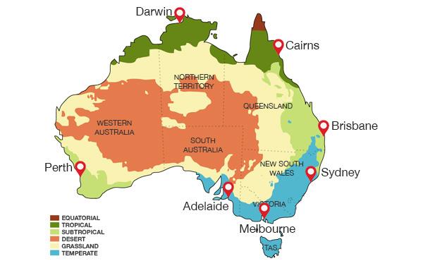 clima australia cartina