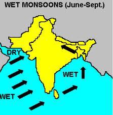 La stagione dei monsoni in India (da giugno a ottobre)