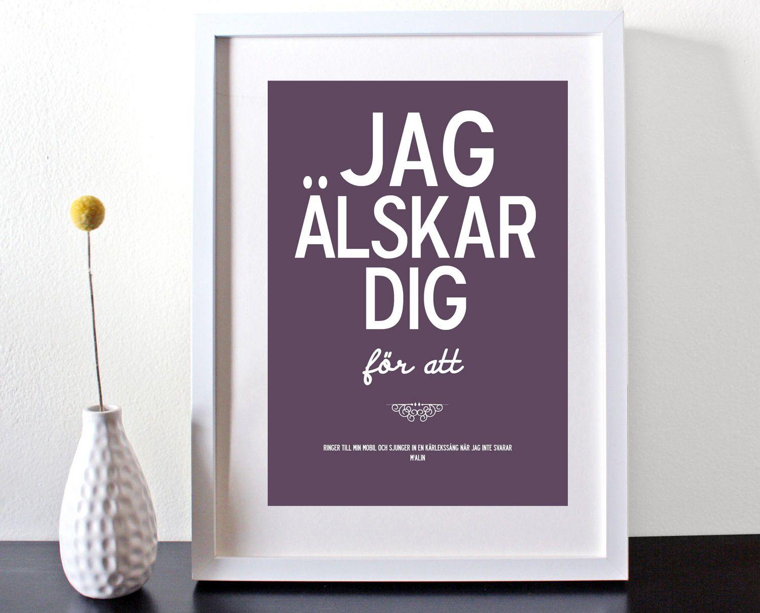 jag lskar dig f r att   personalised swedish poster or canvas 3 263 p