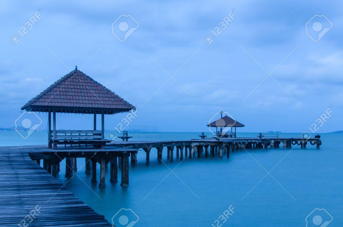 14028240 Wood bridge at Rayong resort Thailand Stock Photo