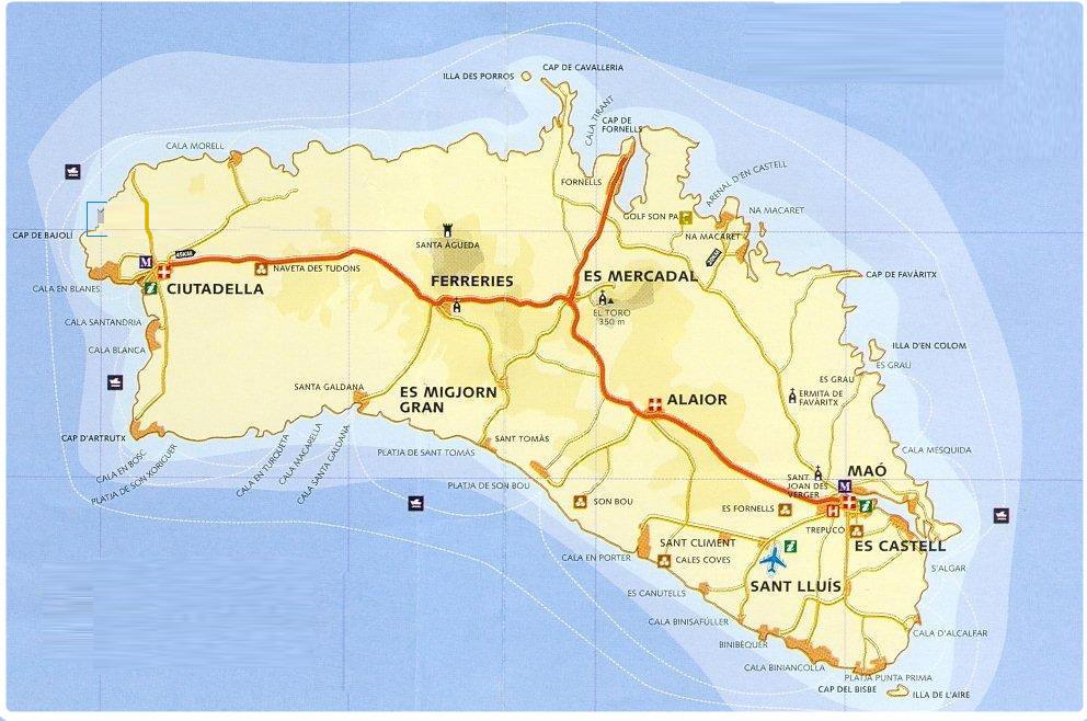mappa minorca cartina