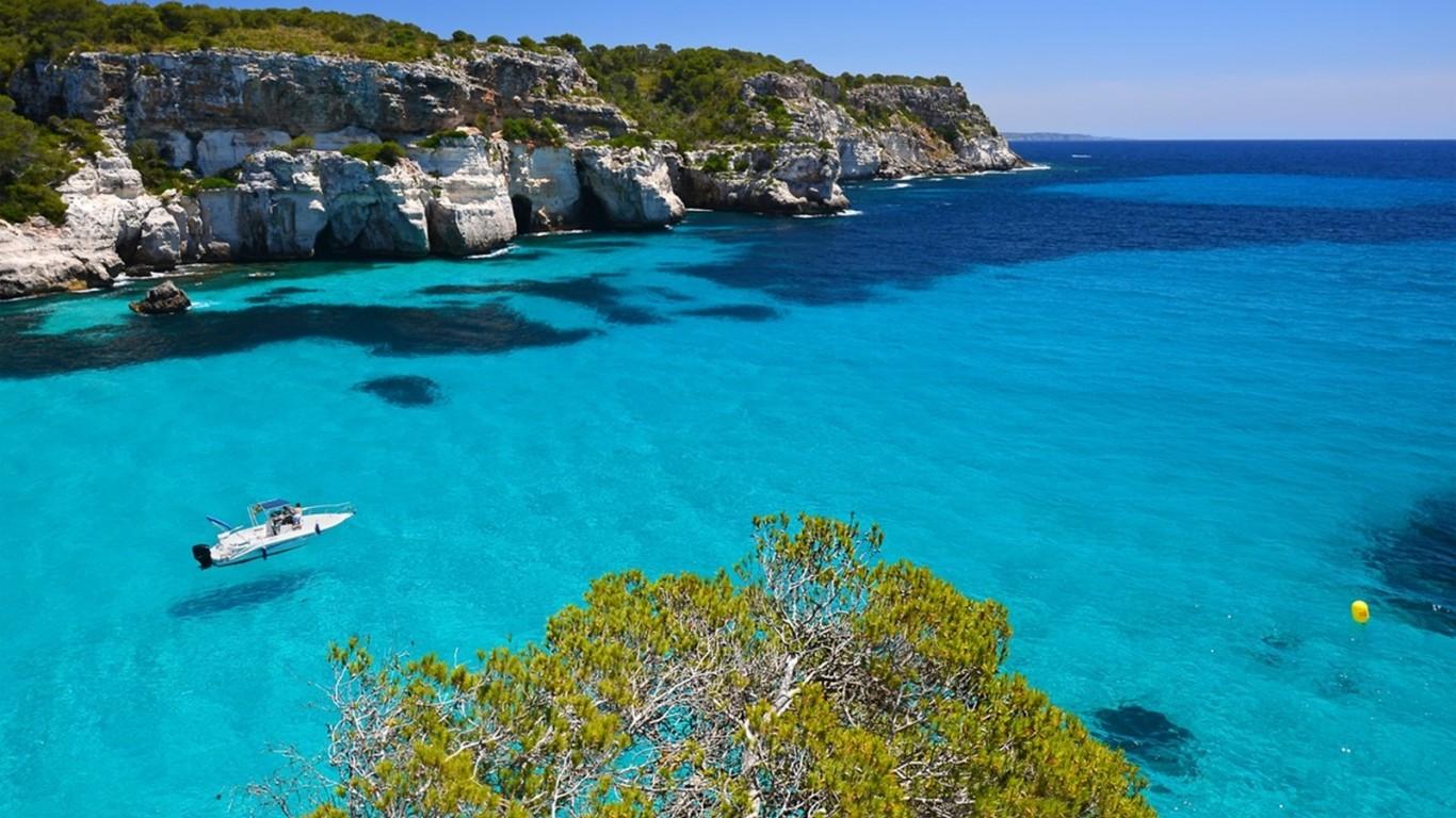 balearic islands spain archipelago cliffs crystalline 1366x768 63170